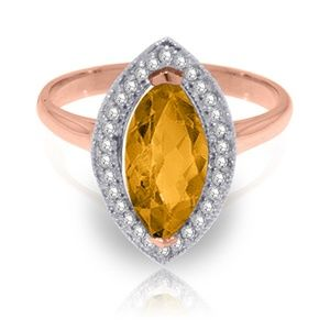 GOLD RING WITH DIAMONDS & MARQUIS CITRINE